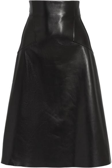 Alexander McQueen   Alexander McQueen - Leather Skirt - Black   Clouty