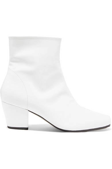 ALEXACHUNG - Beatnik Patent-leather Ankle Boots - White
