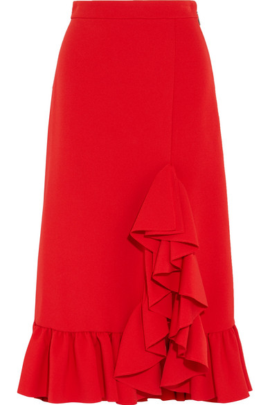 MSGM | MSGM - Ruffled Crepe Midi Skirt - Red | Clouty