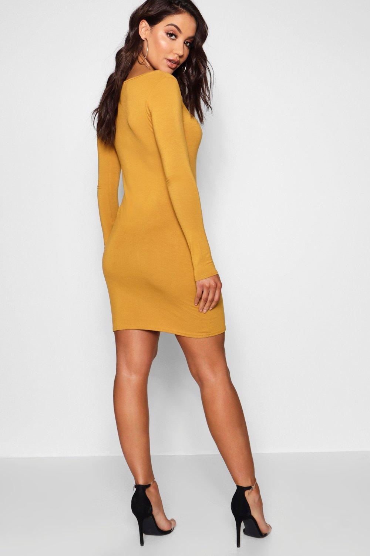 Boohoo | Облегающее платье с овальным вырезом и длинными рукавами | Clouty