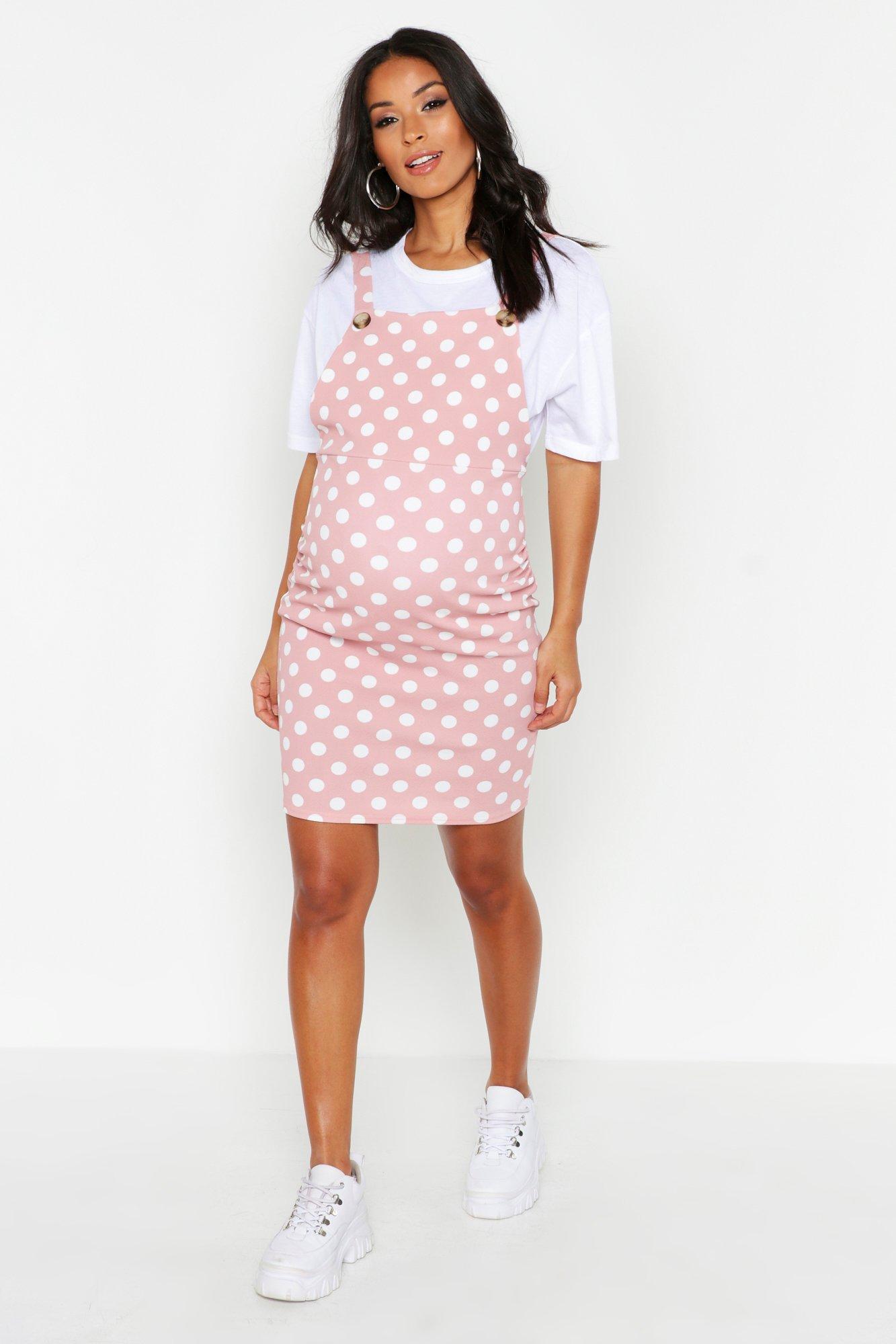 Boohoo | Сарафан в горошек для беременных | Clouty