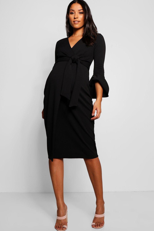 Boohoo | Платье-халат с рукавами с оборками для беременных | Clouty