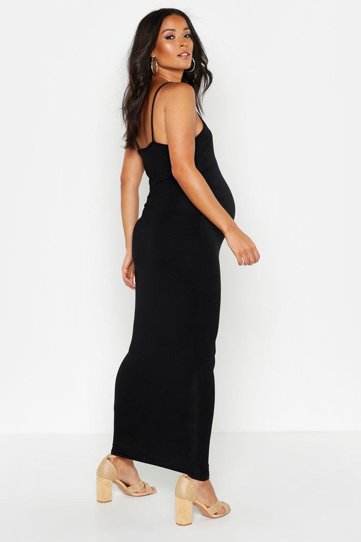 Boohoo | Облегающее платье макси для беременных с бретелями Lacey | Clouty