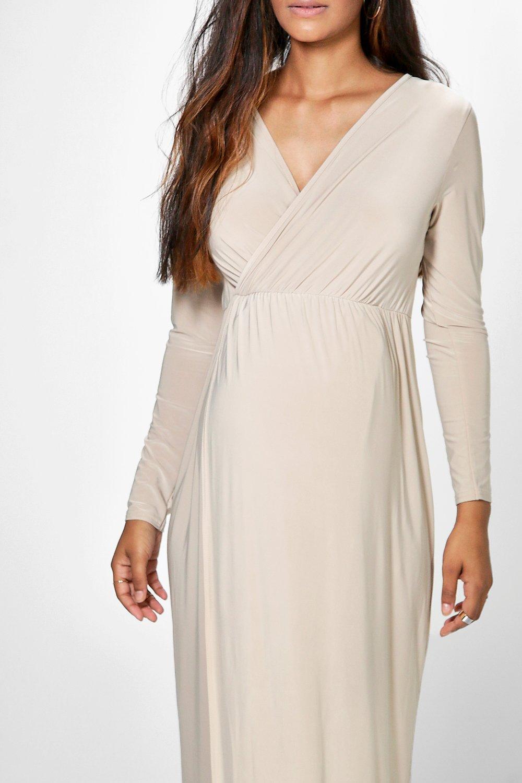 Boohoo | Платье макси с запахом спереди для беременных | Clouty