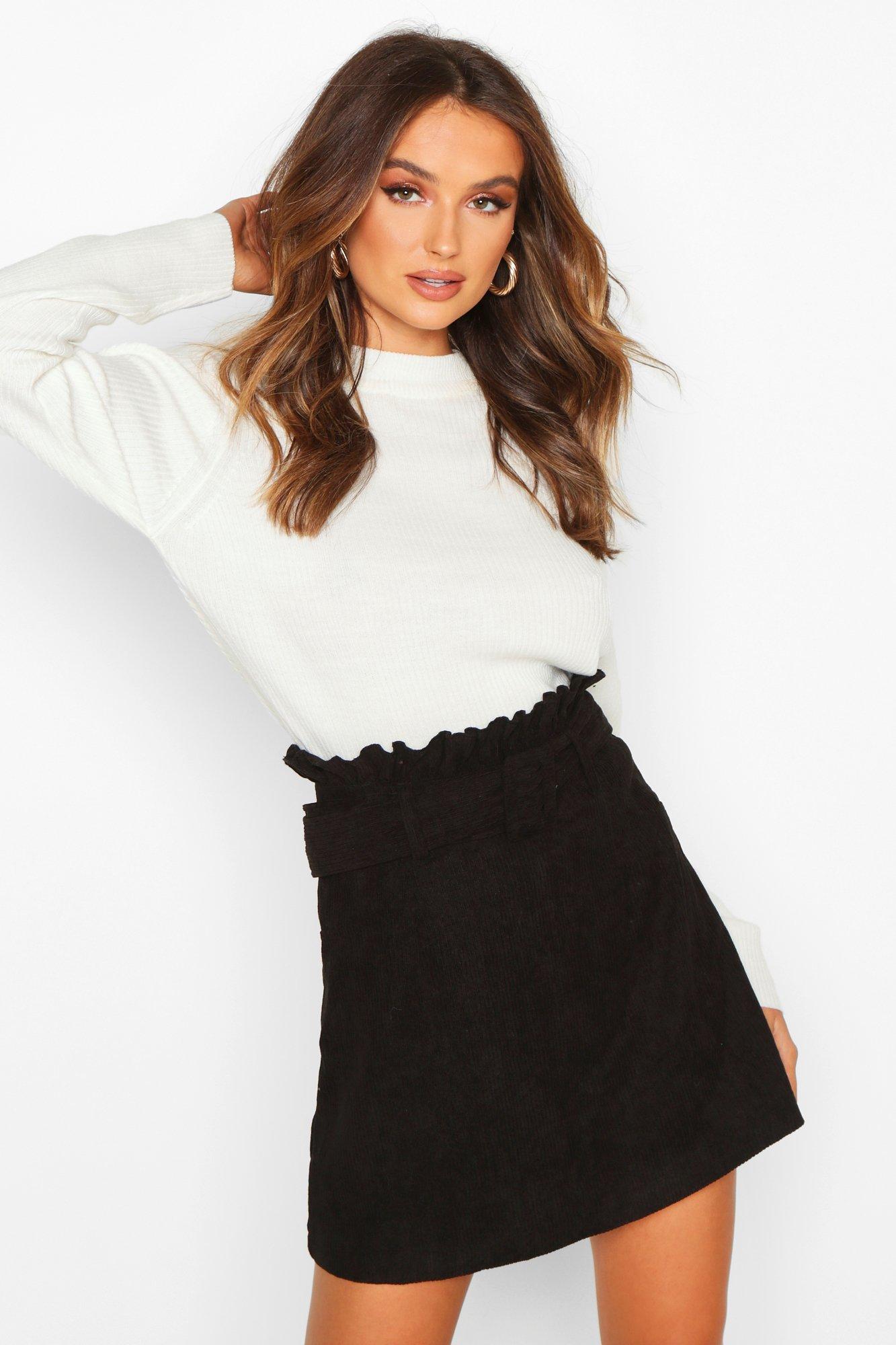 Boohoo   Вельветовая юбка мини с поясом   Clouty