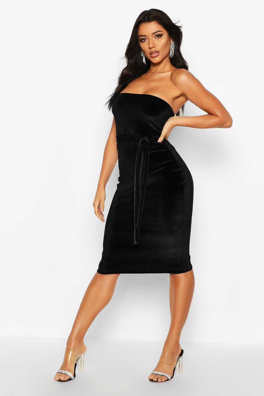 Boohoo | Бархатное платье миди с поясом в стиле бандо | Clouty
