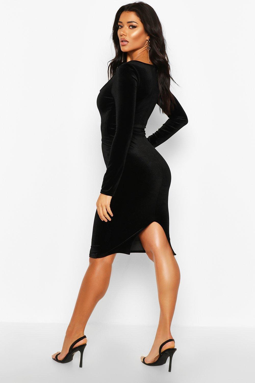 Boohoo | Бархатное платье миди с длинными рукавами и с квадратным вырезом | Clouty