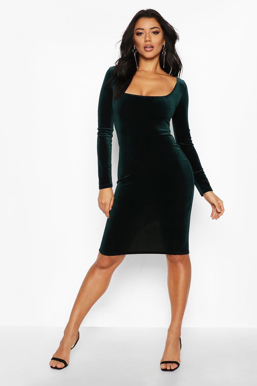 Boohoo   Бархатное платье миди с длинными рукавами и с квадратным вырезом   Clouty
