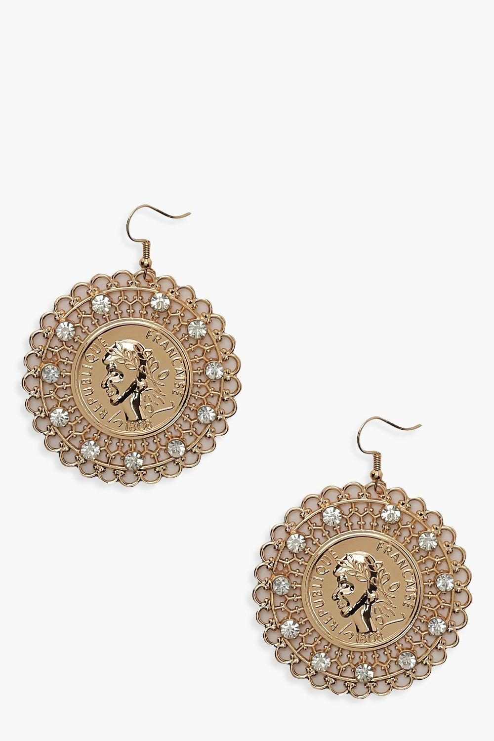 Boohoo | Diamante Filigree Coin Earrings | Clouty