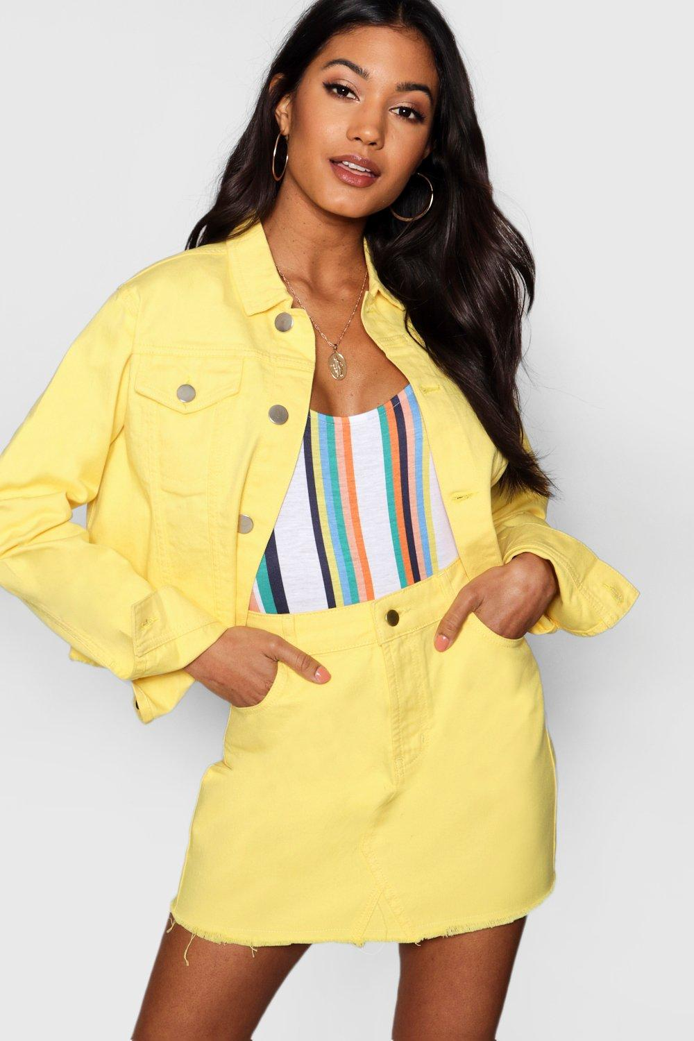 Boohoo | Contrast Stitch Lemon Denim Skirt | Clouty