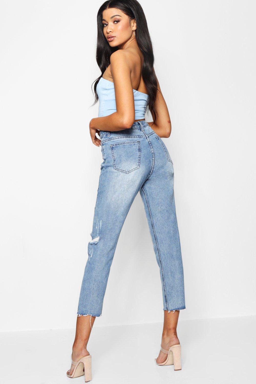 Boohoo   Мамины джинсы с высокой посадкой с необработанным краем   Clouty