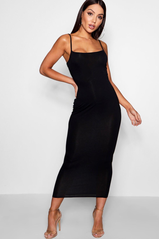 Boohoo | Трикотажное платье по щиколотку с квадратным вырезом | Clouty