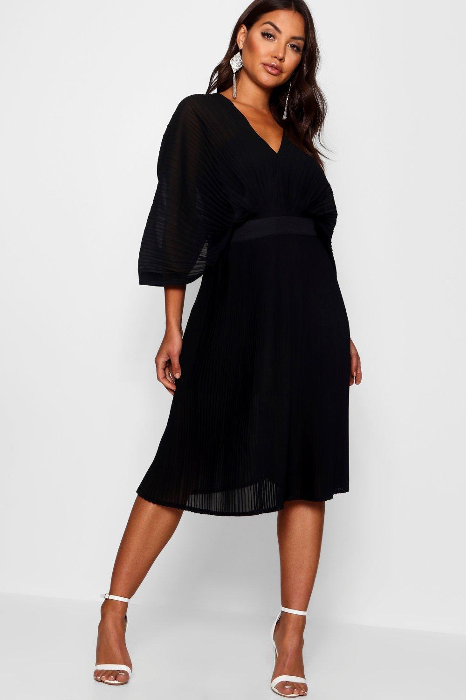 Boohoo   Boutique в складку Миди платье с рукавами «летучая мышь»   Clouty