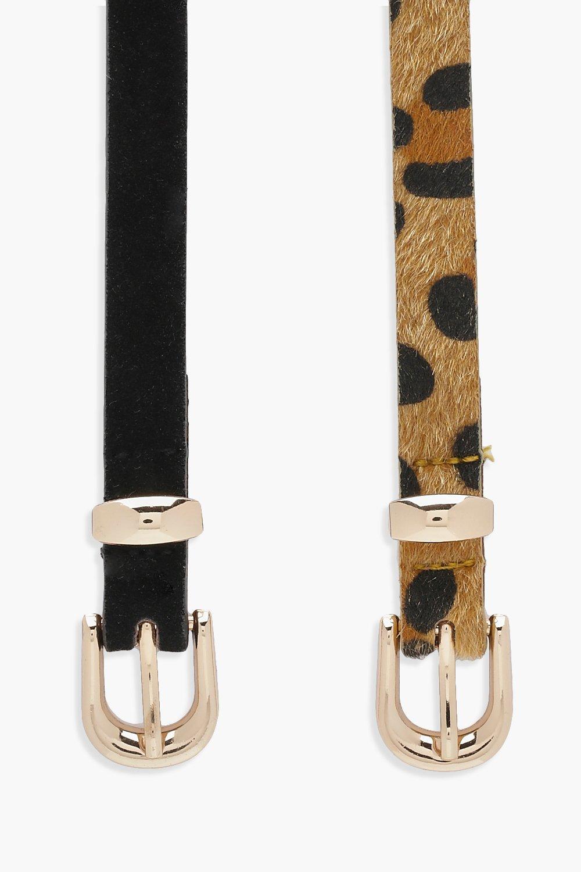 Boohoo | Набор из двух ремней — под замшу и с леопардовым принтом | Clouty