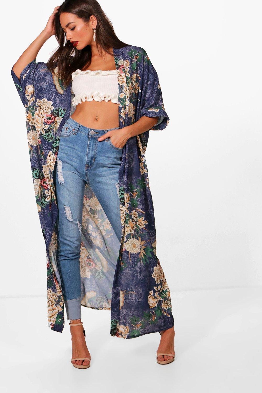Boohoo | Макси-платье с восточным цветочным принтом в стиле кимоно | Clouty