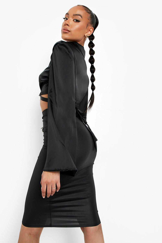 Boohoo | Комплект из трикотажной юбки и юбки из ткани с мокрым эффектом | Clouty