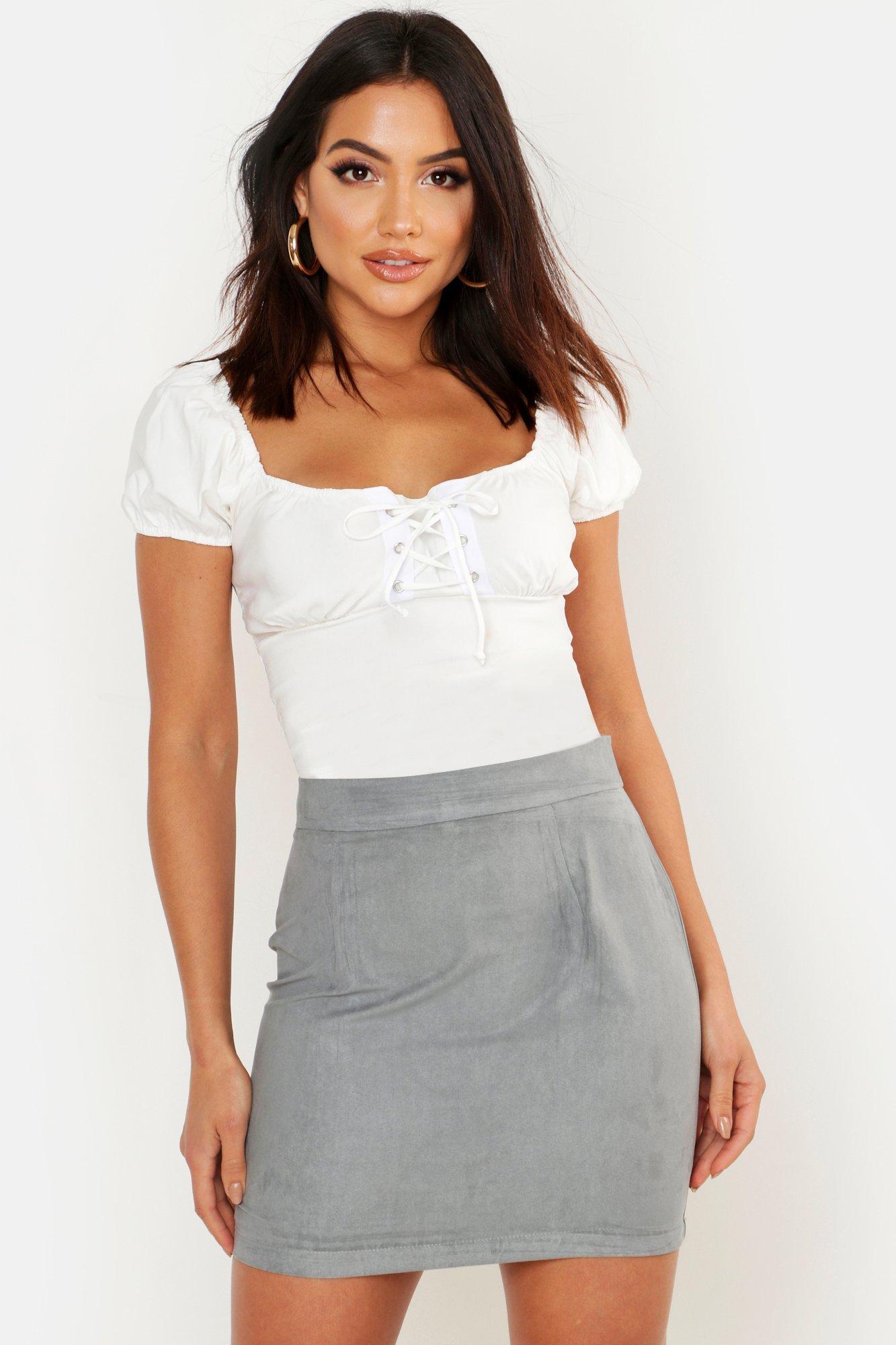 Boohoo | Плетеная мягкая под замшу А-образная мини-юбка | Clouty
