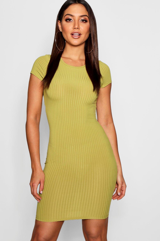 Boohoo | Облегающее платье в рубчик с короткими рукавами | Clouty