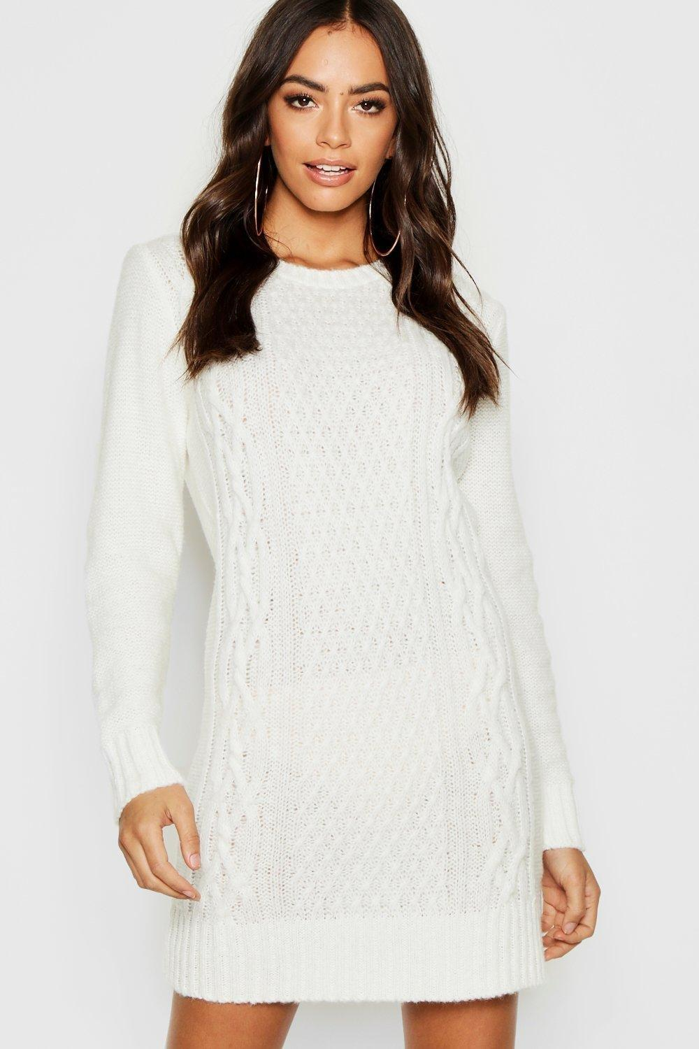 Boohoo | Cable Knit Soft Boucle Jumper Dress | Clouty