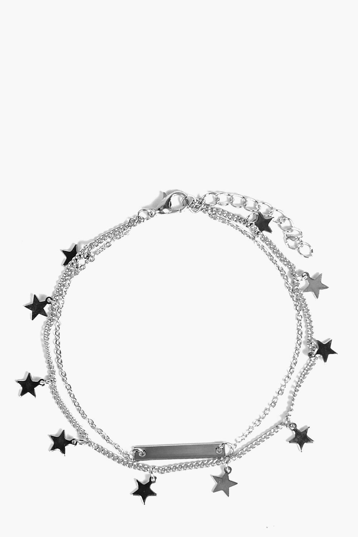 Boohoo   Двойной браслет на щиколотку со звездами и металлической вставкой   Clouty