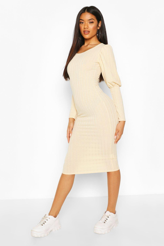 Boohoo | Мини-платье в рубчик с широкими манжетами | Clouty