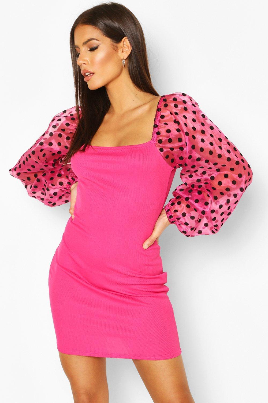 Boohoo | Мини-платье в рубчик с рукавами в горошек из флокированной органзы | Clouty