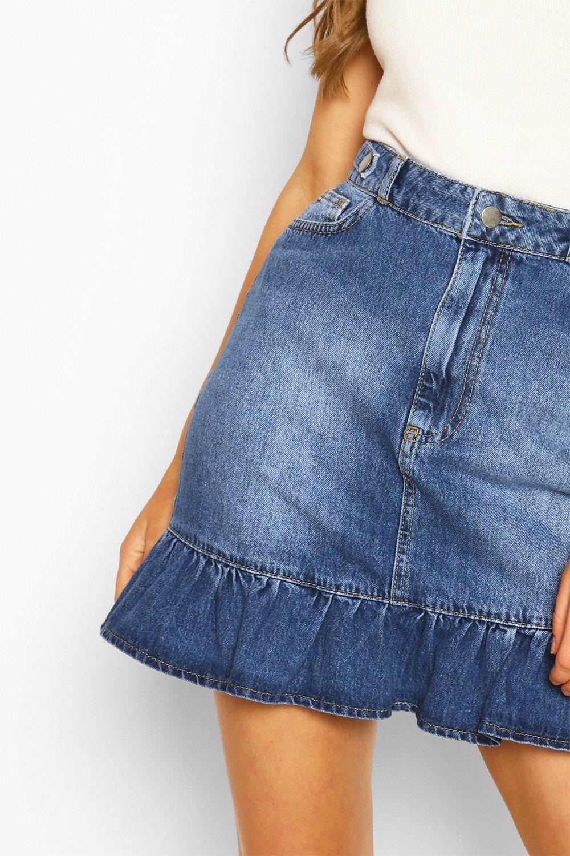 Boohoo | Мини-юбка из денима с оборчатым краем | Clouty
