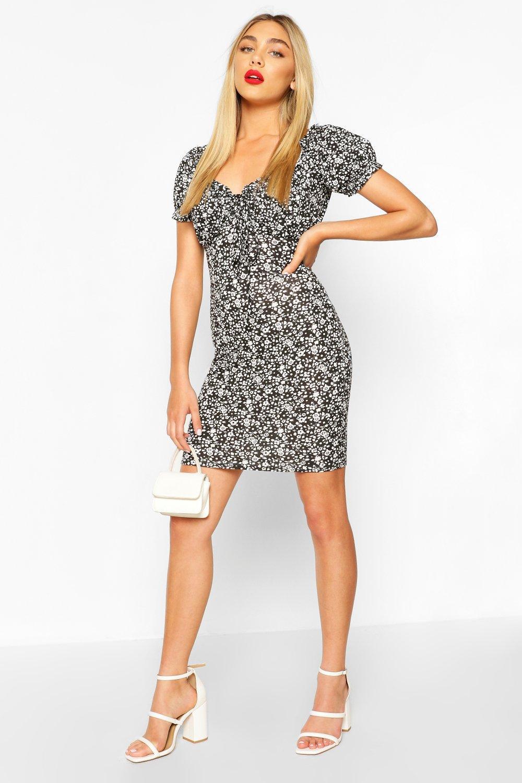 Boohoo | Ditsy Floral Puff Sleeve Mini Dress | Clouty