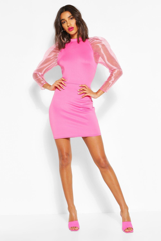 Boohoo | Мини-платье с высокой горловиной с объемными прозрачными рукавами | Clouty