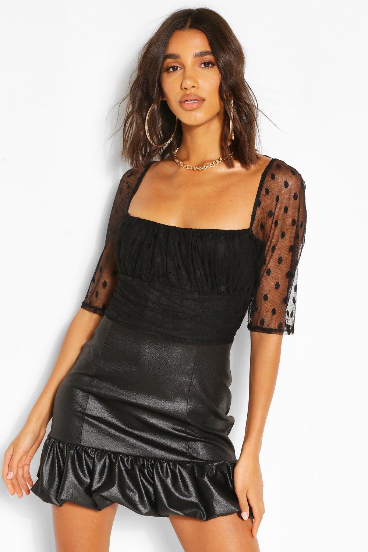 Boohoo | Платье-рубашка из искусственной кожи и сетки добби с объемными рукавами | Clouty