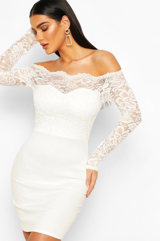 Boohoo | Lace Bardot Top Mini Dress | Clouty