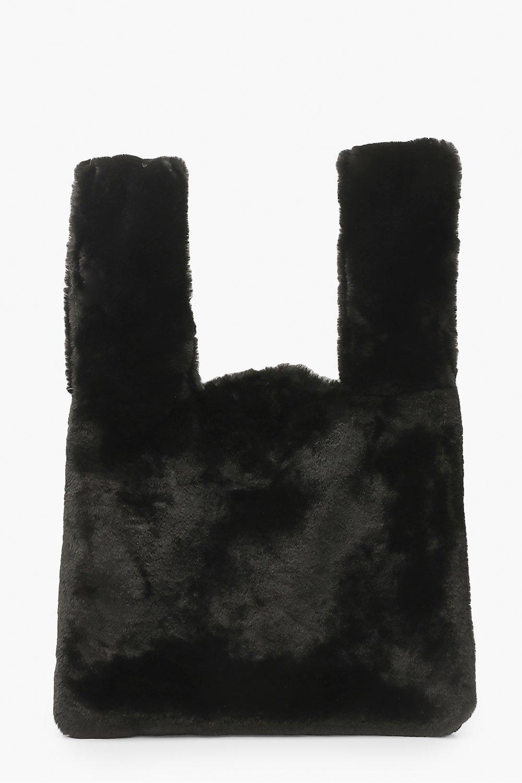 Boohoo | Сумка-шоппер из искусственного меха | Clouty