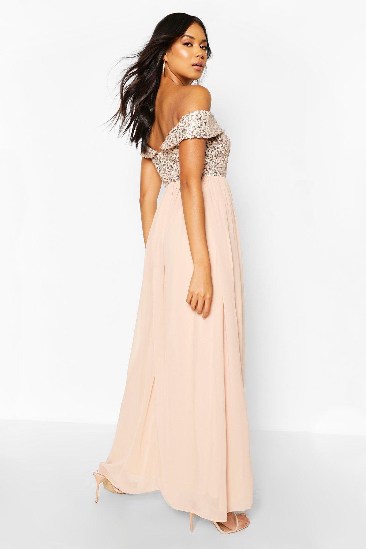 Boohoo | Платье макси с вырезом лодочкой и пайетками из коллекции одежды для мероприятий Boohoo | Clouty