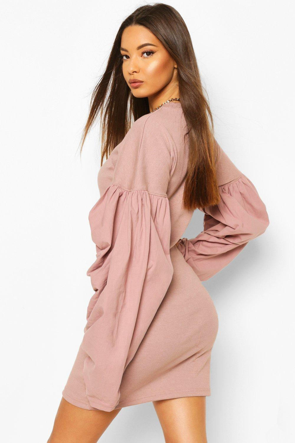 Boohoo | Ribbed Extreme Rouched Sleeve Mini Dress | Clouty