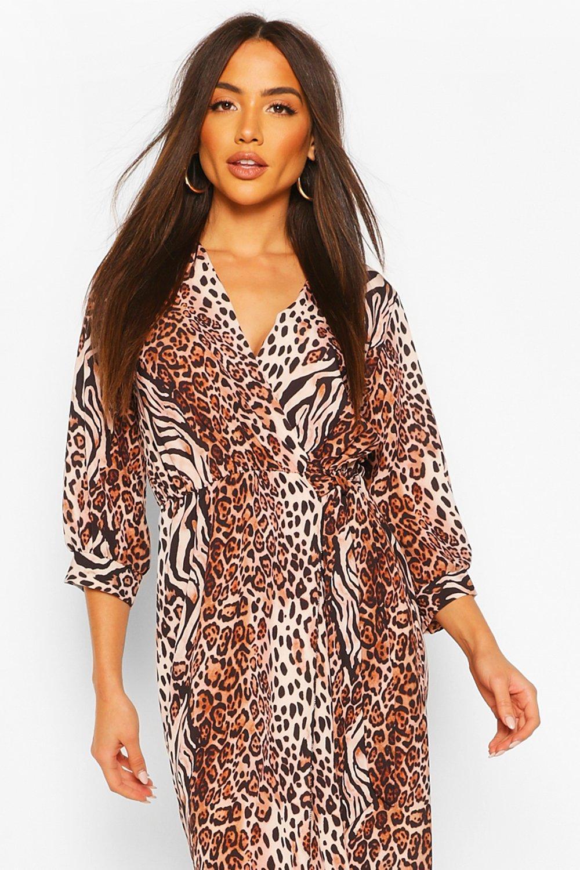 Boohoo   Платье макси с запахом с комбинированным животным принтом   Clouty