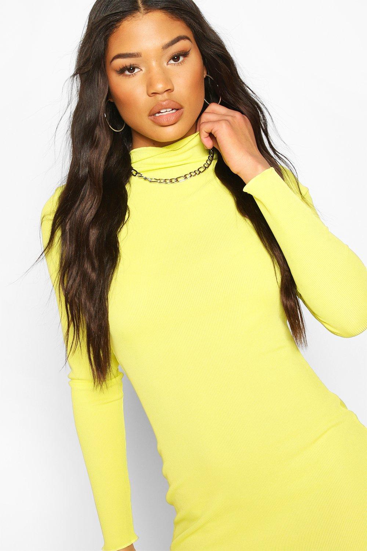 Boohoo | Неоновое платье мини с длинным рукавом | Clouty