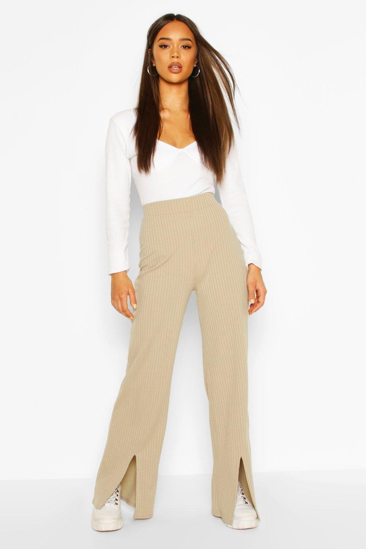Boohoo | Рифленые брюки с разрезами спереди | Clouty