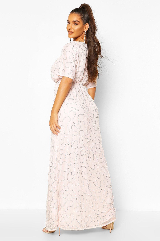 Boohoo | Макси-платье с декольте и пайетками | Clouty