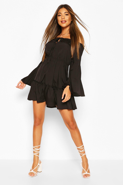 Boohoo | Мини платье с открытыми плечами | Clouty