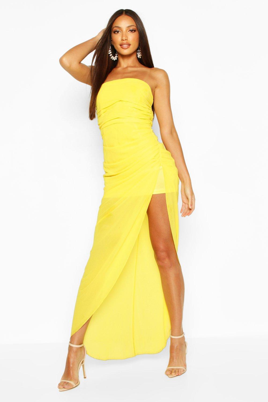 Boohoo   Макси-платье из шифона с драпировкой и корсетом   Clouty