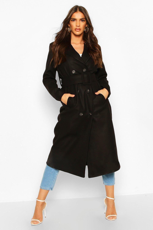 Boohoo | Пальто-тренч с эффектом шерстяной ткани с поясом на пряжке | Clouty