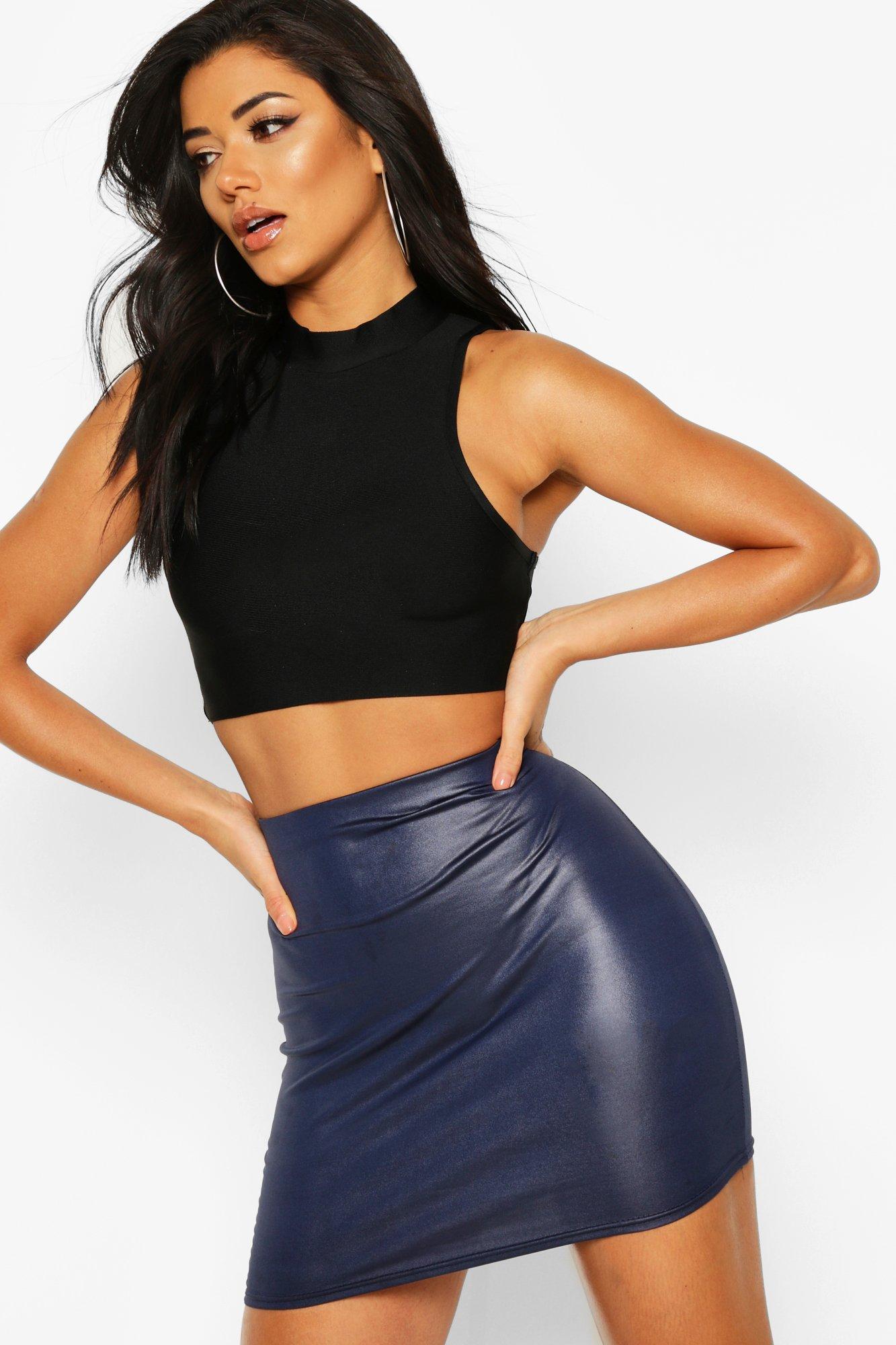 Boohoo | Wet Look Mini Skirt | Clouty
