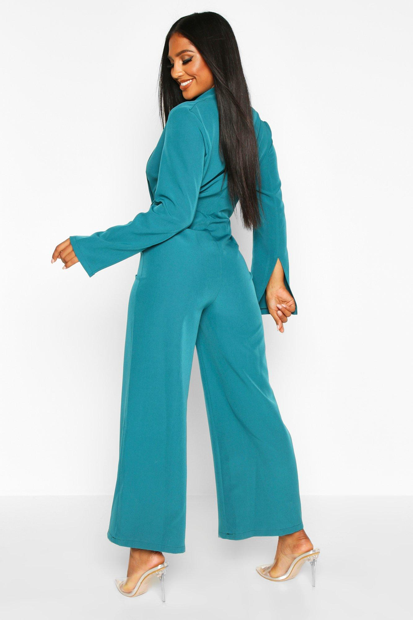 Boohoo | Tailored Plunge Front Wide Leg Culotte Jumpsuit | Clouty