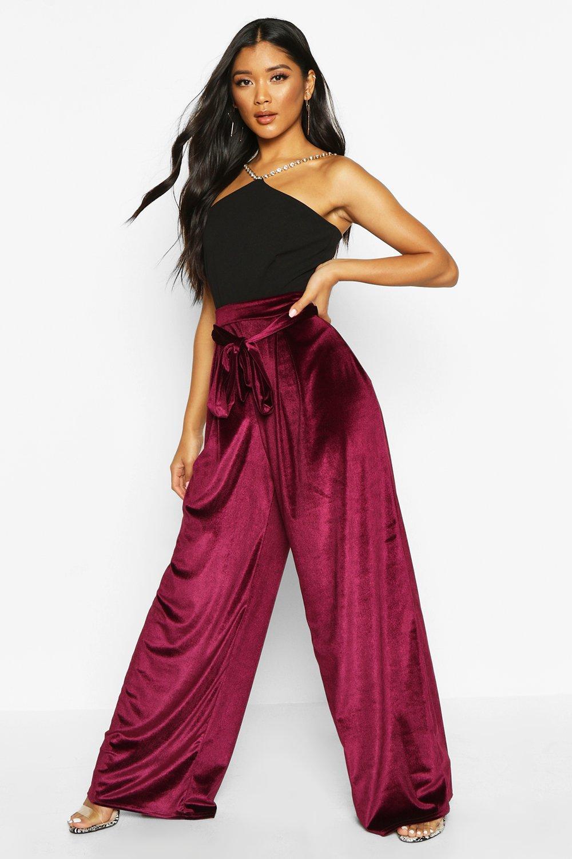Boohoo | Широкие брюки с завязкой на талии из бархата | Clouty
