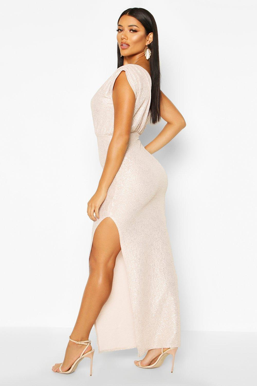 Boohoo | Платье макси металлик с запахом | Clouty
