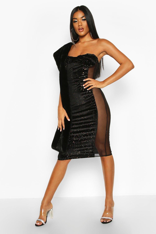 Boohoo | Бархатное платье-миди бандо с чашечками и вставкой из сетки | Clouty