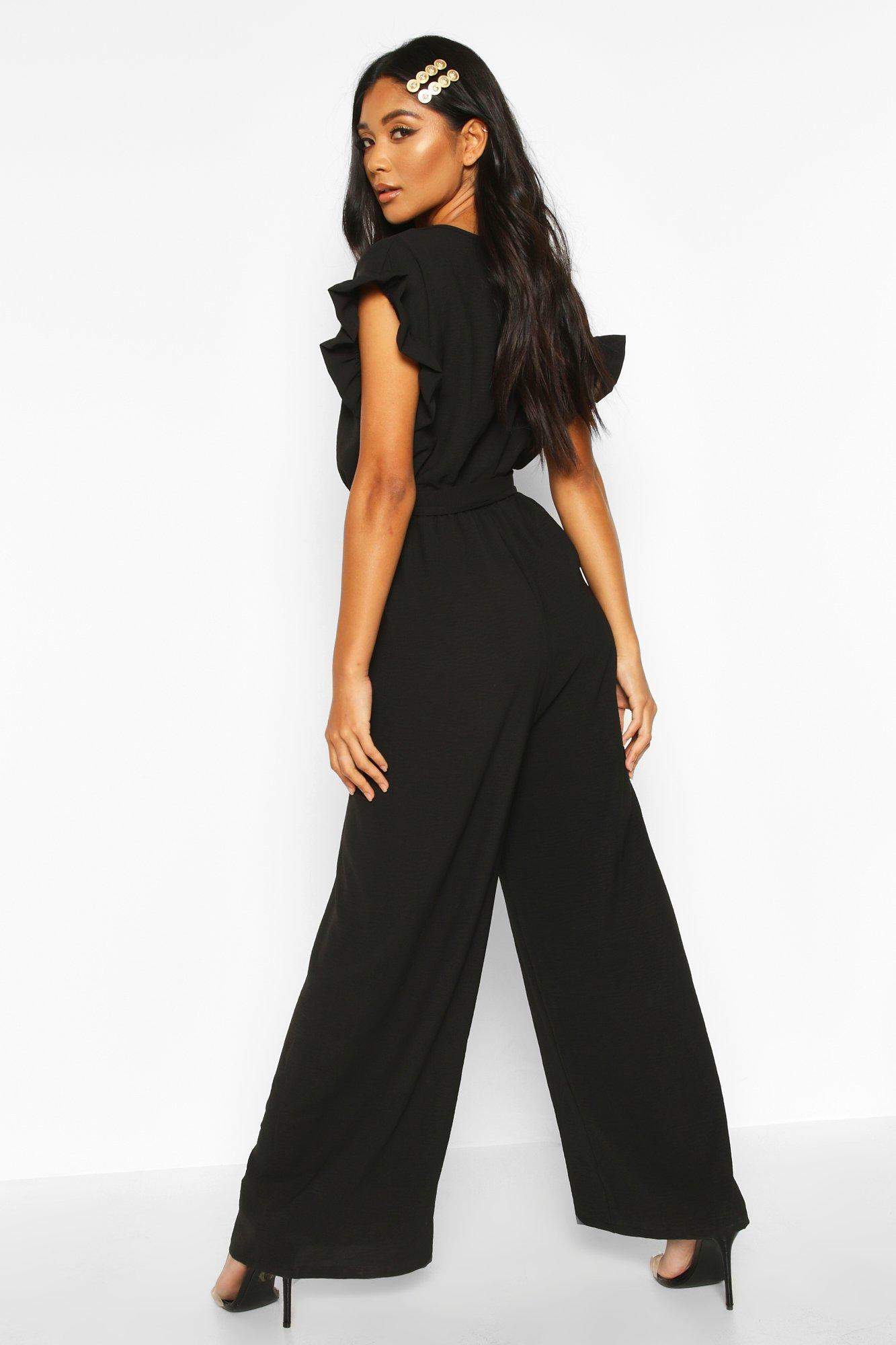 Boohoo | Комбинезон с широкими брюками и присборенными рукавами | Clouty