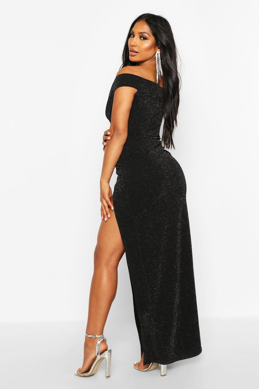 Boohoo | Блестящий платье макси с вырезом лодочкой | Clouty