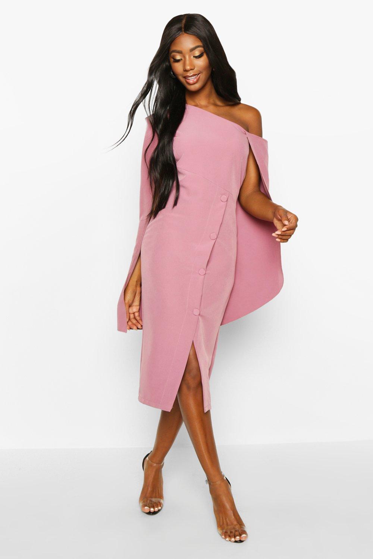 Boohoo | Платье с накидкой на одно плечо и пуговицей | Clouty