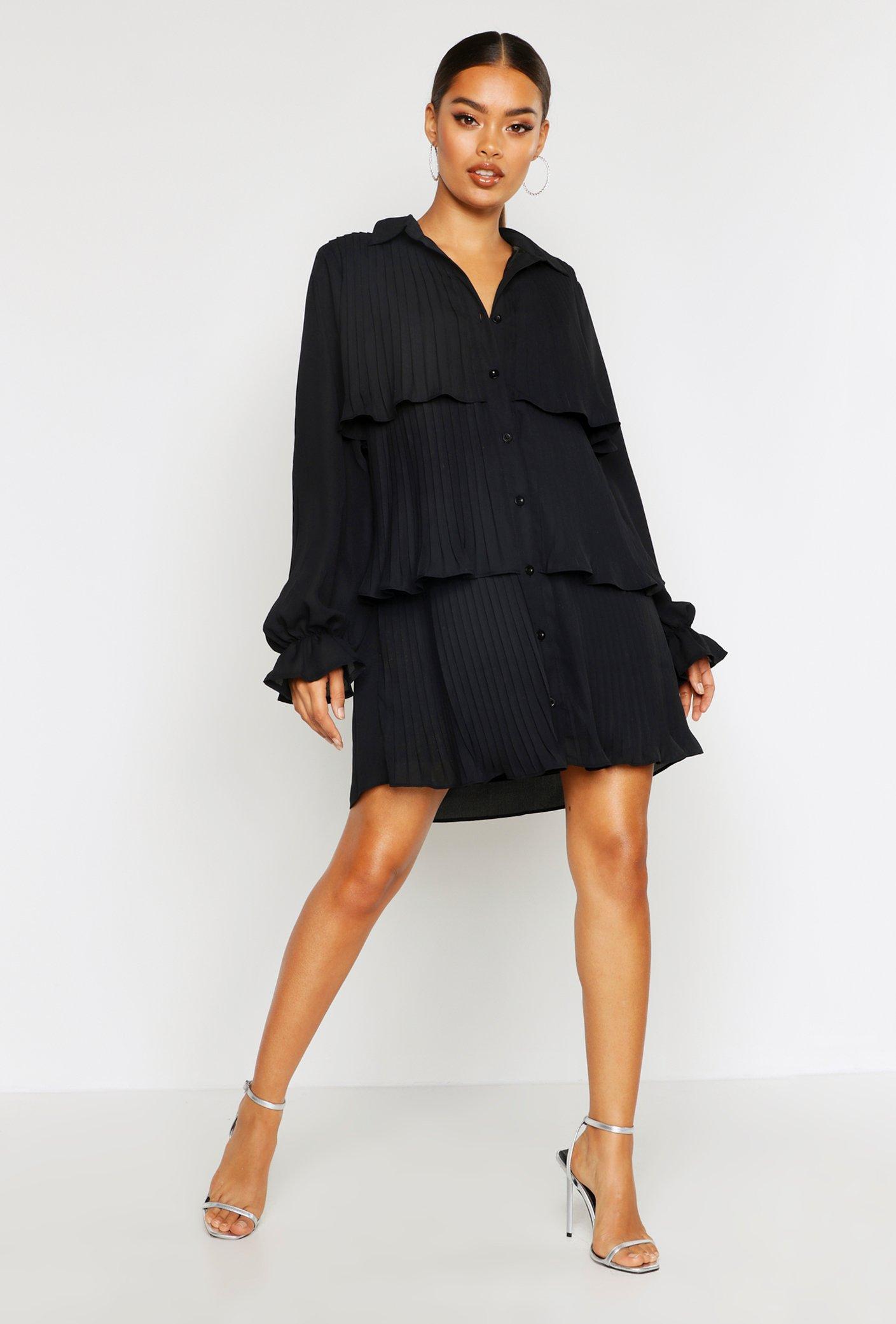 Boohoo | Плиссированное свободное платье в рубашечном стиле | Clouty